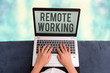 canvas print picture - Conceptual hand writing showing Remote Working. Concept meaning situation in which an employee works mainly from home