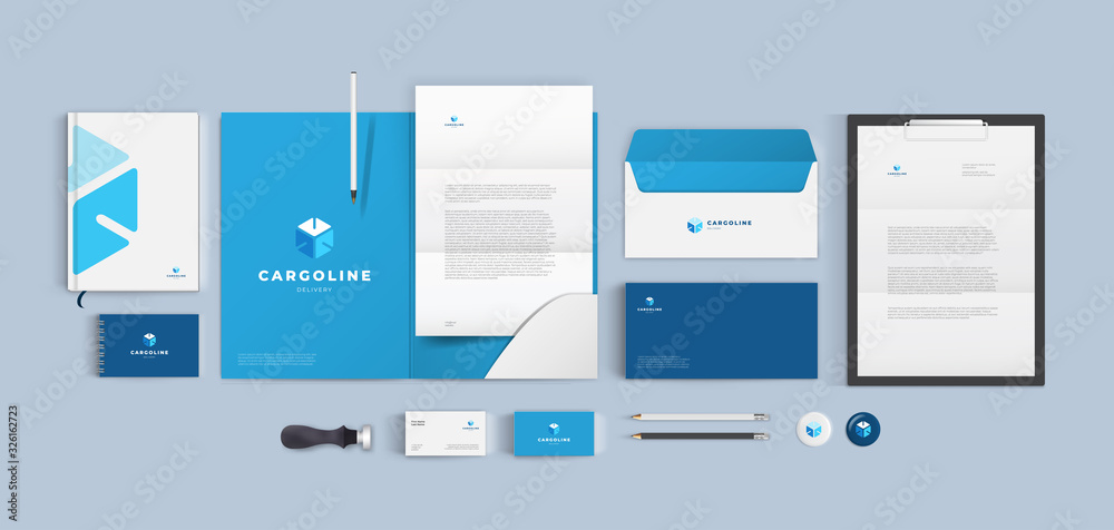 Fototapeta Branding for transport cargo company. Blue corporate identity style with cube logo and color background. Vector design template.