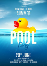 Summer Pool Party Poster Template. Vector Illustration With Deep Underwater Ocean Scene. Background With Realistic Clouds And Marine Horizon. Invitation To Nightclub With Rubber Duck.