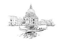 Cathedral Of Santa Maria Della Salute.  Grand Canal. Venice. Italy. Hand Drawn City Sketch. Vector Illustration.