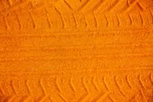 Orange Color Car Tire Track On...