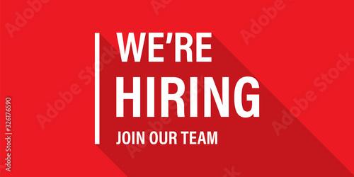 Fotografía We're hiring red vector banner