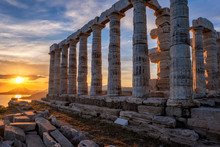 Poseidon Temple Ruins On Cape Sounio On Sunset, Greece