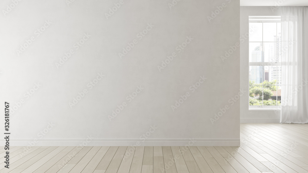 Fototapeta Interior of empty modern living room 3D rendering