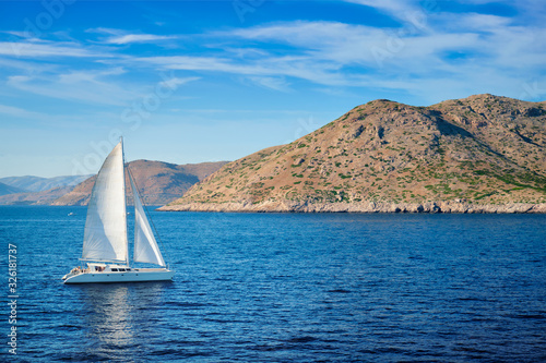 Photo Catamarane yacht in Aegean Sea