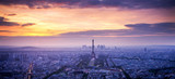 Fototapeta Paryż - panorama of skyline of Paris with Eiffel Tower at sunset in Paris, France. Eiffel Tower is one of the most iconic landmarks of Paris.