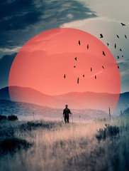 Fototapeta Industrialny Man walks in field, surreal image