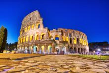 Illuminated Colosseum At Dusk,...