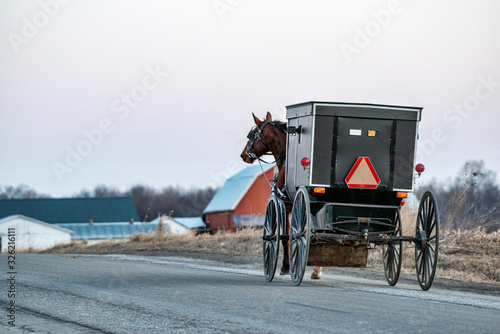 Amish Buggy in Winter with Red Barn Wallpaper Mural
