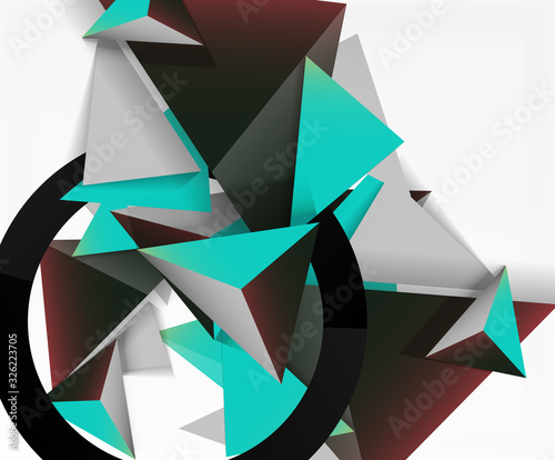 Fotografia, Obraz Abstract background, mosaic 3d triangles composition, low poly style design