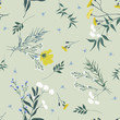 Blossom floral seamless pattern. Blooming botanical motifs scattered random. Trendy colorful vector texture. Good for fashion. Ditsy print. Hand drawn different wild meadow flowers on grey background