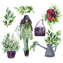 Spring Watercolor Set With Gir...