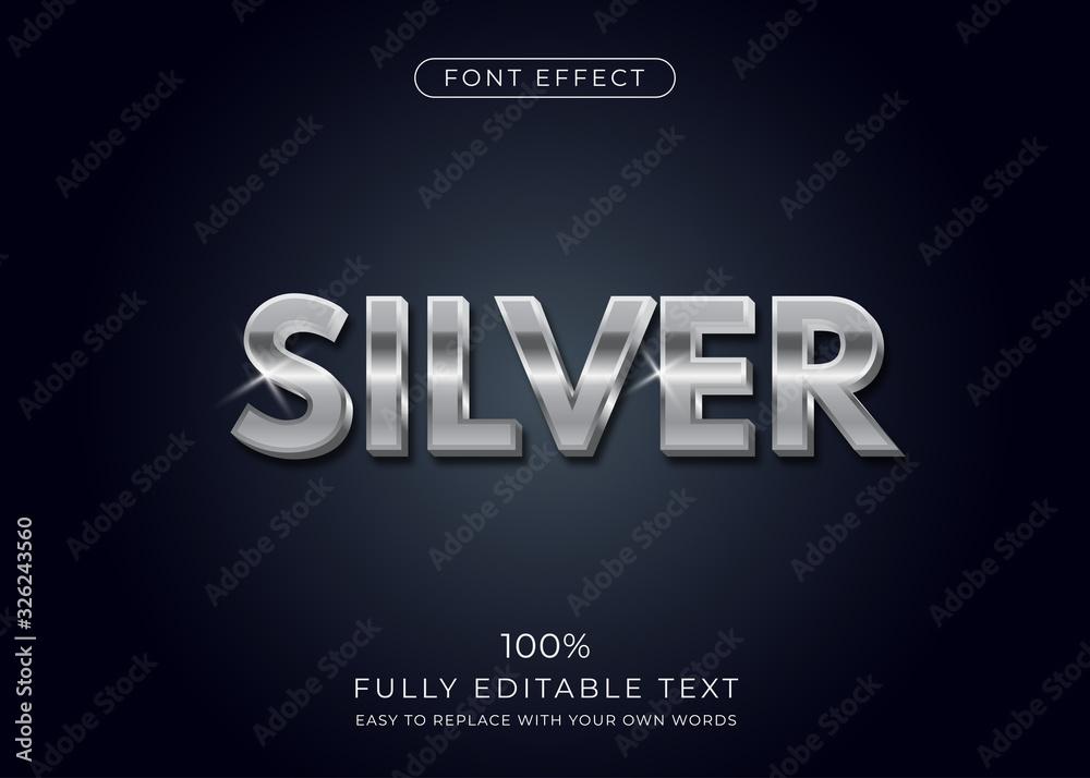 Fototapeta Silver text effect. Editable font style