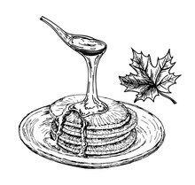 Pancakes With Maple Syrup. Pan...