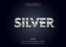 Silver Text Effect. Editable F...