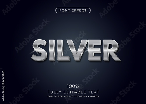 Cuadros en Lienzo Silver text effect. Editable font style