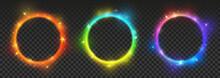Set Of Bright Color Neon Circl...