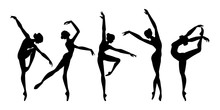 Female Beautiful Classic Dancers Character. Set Dancing Women. Silhouettes Ballerinas. Vector Illustration Isolated On White Background.