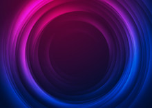 Smooth Blurred Blue And Purple Circles. Abstract Tech Futuristic Elegant Background. Vector Glowing Design