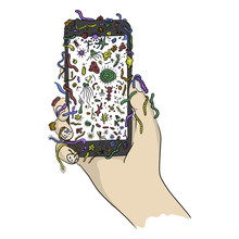 Hand Holding Mobile Phone With Colorful Germs Vector Illustration Sketch Doodle Hand Drawn With Black Lines Isolated On White Background