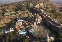 Aerial View Of Kumbhalgarh Fort Complex With Ancient Ruins Of Buildings And Temples At Udaipur, Rajasthan, India