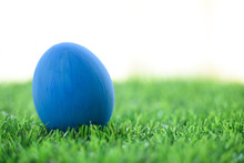 Blue Easter Egg On Lawn Green Grass Artificial With Blank White Background