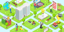 Flat Isometric Vector Concept Of Campus. Students Are Spending Their Time Reading, Studying, Chatting, Walking And Etc. Around The University.