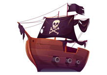 Vector Wooden Pirate Boat With Black Sails. Corsair Ship With Black Flag, Cannons, Skull And Crossbones On Canvas. Cartoon Old Wooden Ship, Vintage Galleon Isolated On White Background