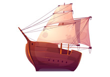 Vector Wooden Boat With White Sails. Pirate Or Merchant Ship With Blank Canvas. Cartoon Old Wooden Frigate, Vintage Galleon Isolated On White Background
