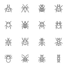 Bugs Insects Line Icons Set. L...