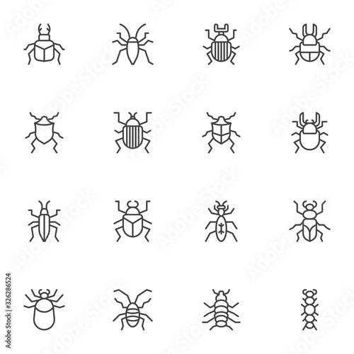 Photo Bugs insects line icons set