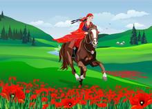 Young Cute Girl - Riding A Hor...