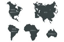Continents Of The World With Names, Gray Isolated On A White Background