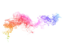 Colorful Smoke On A White Background.