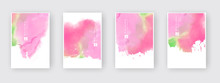 Set Of Cards With Watercolor B...