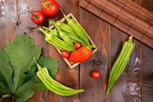 Raw Green Organic Okra And Tom...