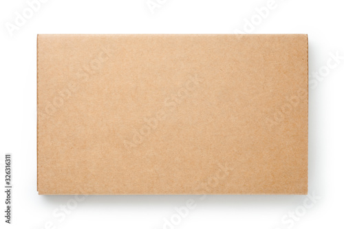 Fototapeta Brown cardboard box isolated on white background. Top view.