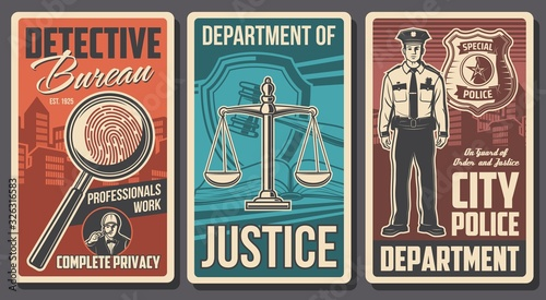Fototapeta Detective, police and justice department, vector vintage posters