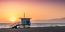 Sunset On The Beach In California, Coast Guard Rescue Shed
