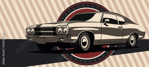 Photo Classic muscle car in vector. Vintage style, solid colors.
