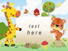 Frame Border With Funny Animals Cartoon In Jungle On Blue Sky Background