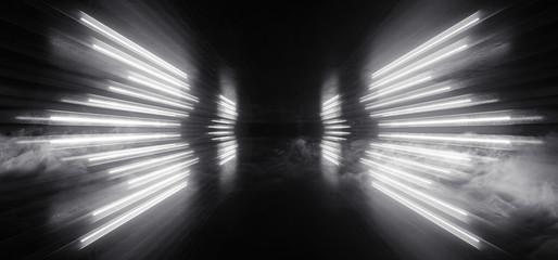 Sci Fi Futuristic Wing Shaped Podium Circle Stage Smoke Neon Led Lights Electric White Glowing Cyberpunk Concrete Dark Hallway Garage Showroom Garage Empty 3D Rendering