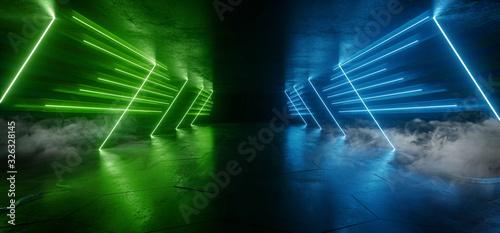 Fototapeta Sci Fi Futuristic Triangle Shaped Alien Modern Smoke Fog Neon Led Lights Green Blue Glowing Cyberpunk Concrete Dark Hallway Garage Showroom Garage Empty Background 3D Rendering obraz