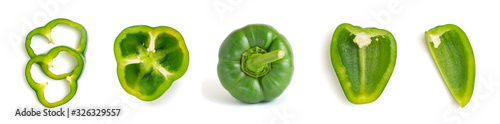 Carta da parati Set of fresh whole and sliced green bell pepper isolated on white background