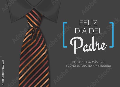 Fototapeta Tarjeta del día del padre con texto caligráfico, corbata con tonos naranajas y camisa negra. obraz na płótnie