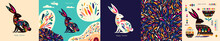 Colorful Collection With Easter Rabbit And Easter Eggs. Happy Easter Greeting Card With Decorative Easter Bunny