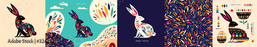Colorful collection with easter rabbit and easter eggs Wallpaper Mural