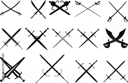 a large set of fourteen crossed diverse silhouettes of medieval swords, dagger s Fotobehang