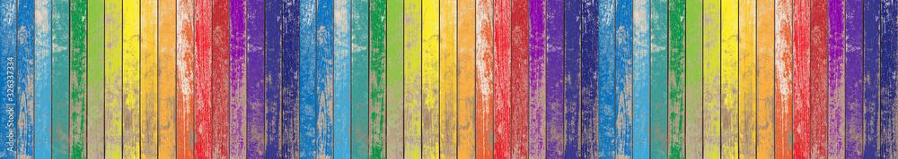 Fototapeta Fond bois de bardage aux couleurs de l'arc-en-ciel