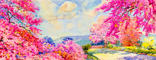 Abstract Watercolor Landscape Painting Imagination Colorful Of Beauty Flowers